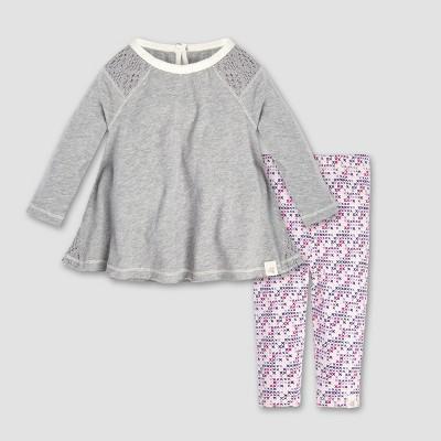 Burt's Bees Baby® Baby Girls' Crochet Inset Tunic and Leggings Set - Heather Gray 6-9M