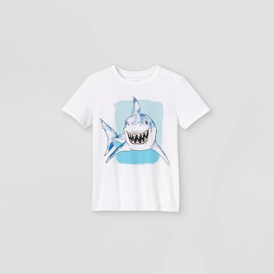 Boys' Short Sleeve Smiling Shark Graphic T-Shirt - Cat & Jack™ White