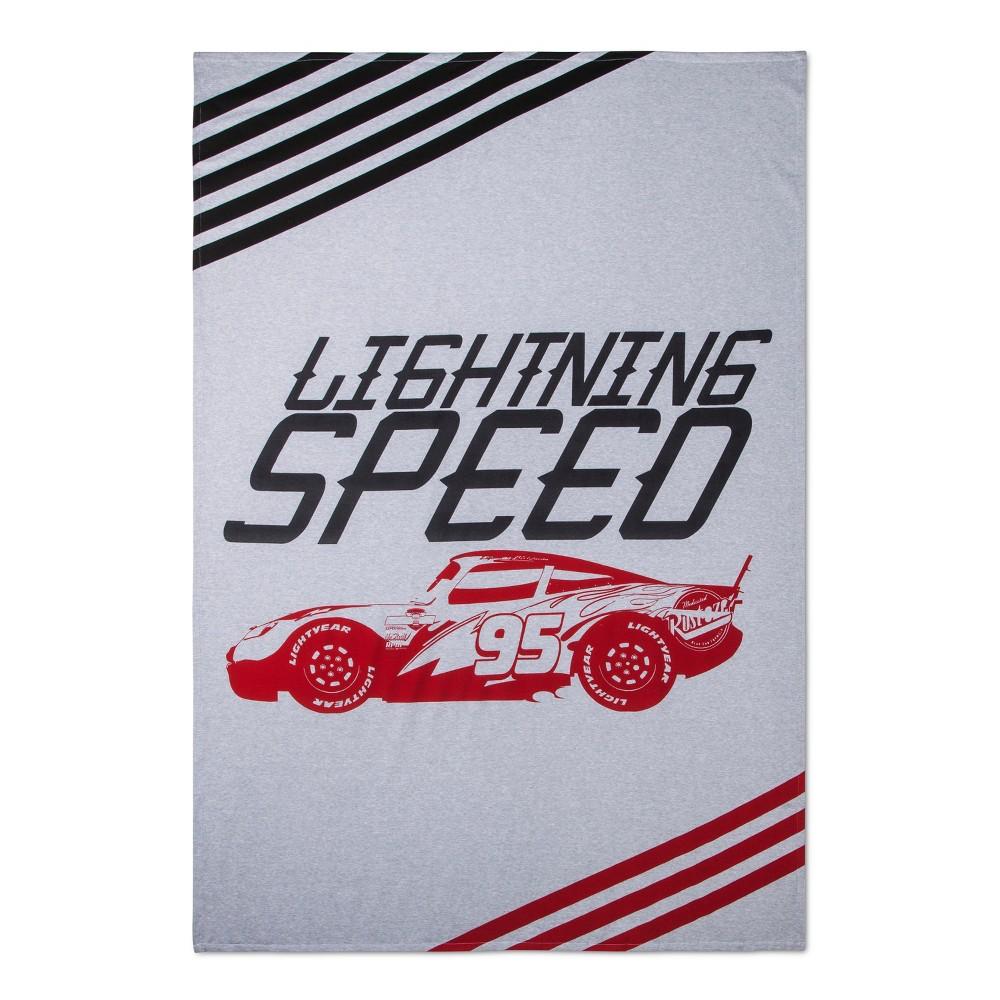 Disney Cars Lightning McQueen Lightning Speed White & Gray Bed Blanket (Twin)