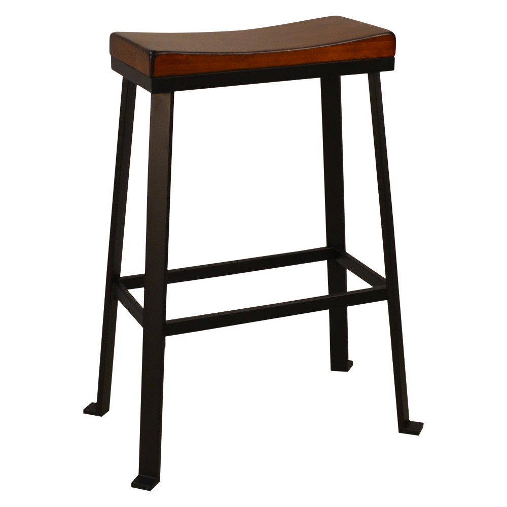 "Image of ""Viola 30"""" Saddle Seat Bar Stool - Chestnut/Black - Carolina Chair and Table"""