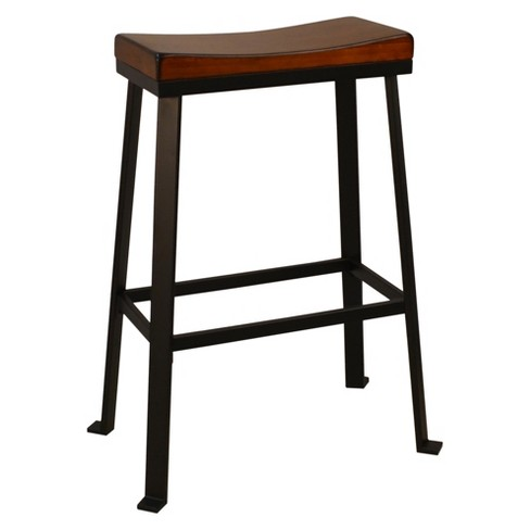 Viola 30 Saddle Seat Bar Stool Chestnut Black Carolina Chair And Table