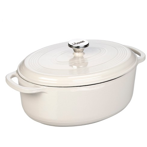 Lodge 7 Quart Oval Dutch Oven Oyster White