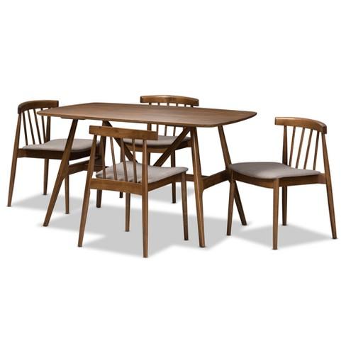 5pc Wyatt Midcentury Modern Walnut Wood Dining Set Beige/Brown - Baxton Studio - image 1 of 4