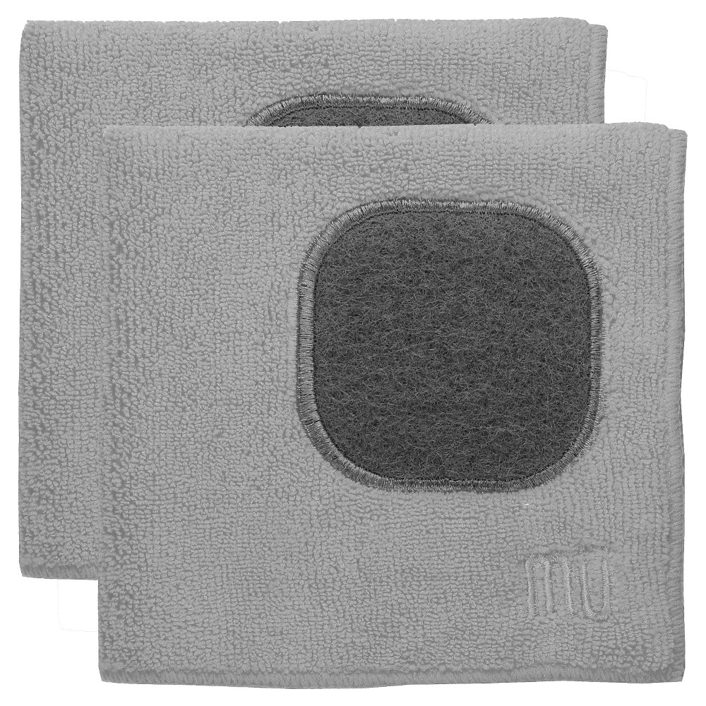 "Image of ""12""""X12"""" 2pk Microfiber Dish Cloth With Scrubber Light Gray - Mu Kitchen"""