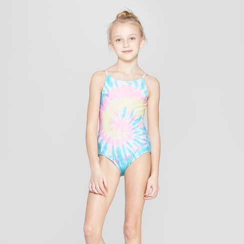 c177b59f89e30 Girls' 2pc Dreamy Tie Dye One Piece Swimsuit With Shorts - Cat & Jack™ Pink  : Target