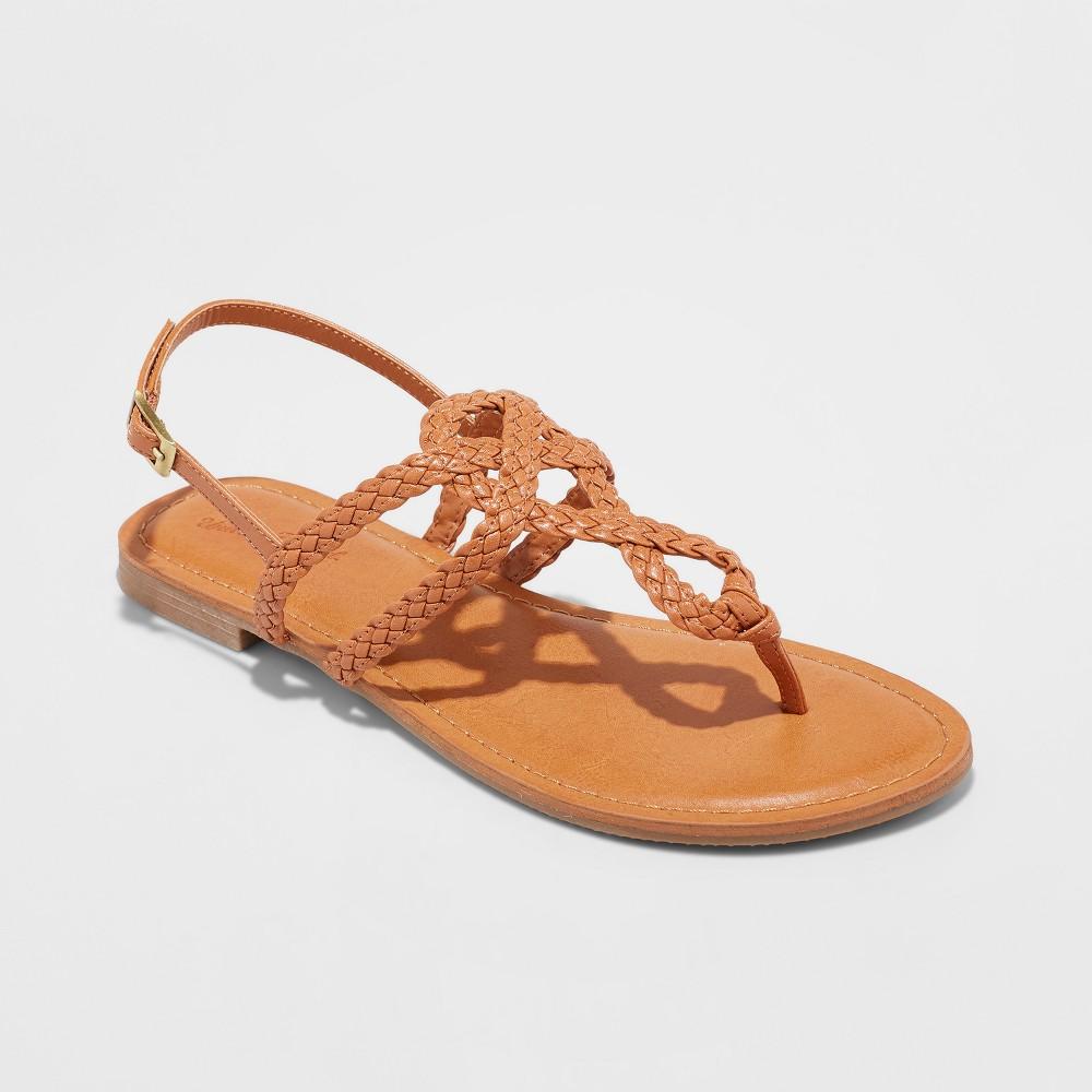 Women's Jana Braided Thong Ankle Strap Sandal - Universal Thread Cognac (Red) 9.5