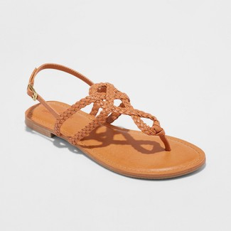 Women's Jana Braided Thong Ankle Strap Sandal - Universal Thread™ Cognac 7.5