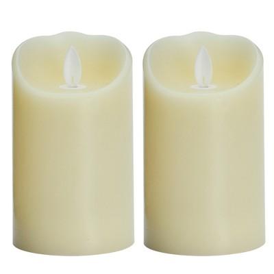 "3"" x 5"" 2pk Unscented LED Flickering Flame Pillar Candle Set Cream - Threshold™"