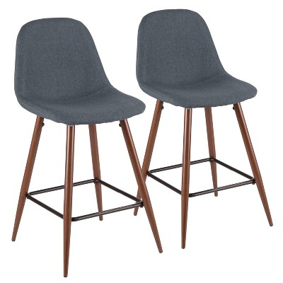 Set of 2 Pebble Mid-Century Modern Counter Height Barstools - LumiSource