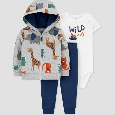 Baby Boys' Wild Guy Safari Cardigan Top & Bottom Set - Just One You® made by carter's Gray 3M