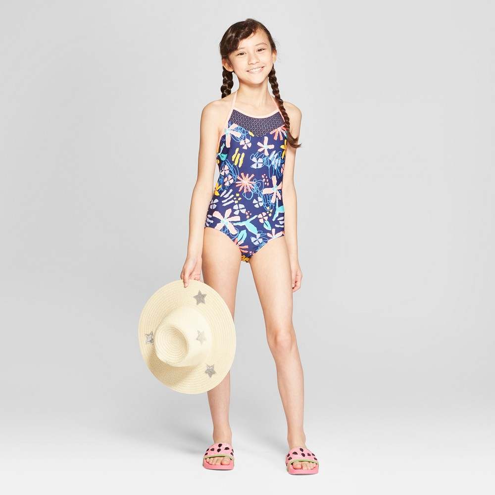 Girls' Loves Me Knot One Piece Swimsuit - Cat & Jack Navy XS, Blue
