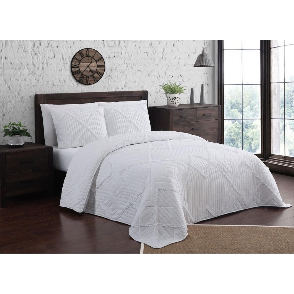 Image of 3pc King Asbury Quilt Set White - Geneva Home Fashion