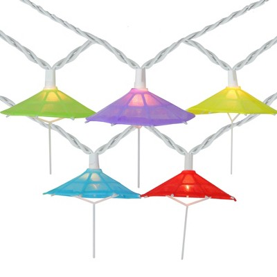 Northlight 10-Count Vibrantly Colored Umbrella Outdoor Patio String Light Set, 7.25ft White Wire
