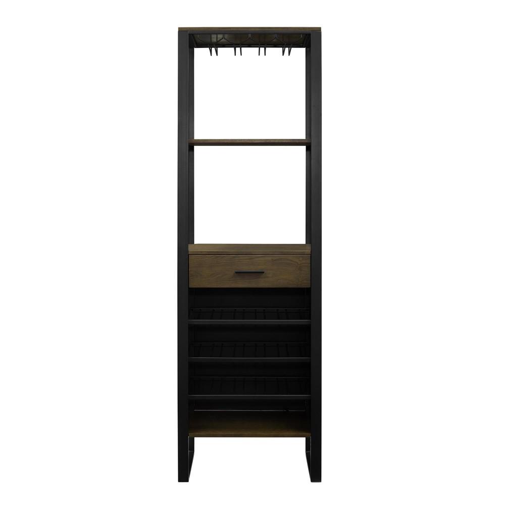 Victoria Bar Cabinet with Wine Storage Ash Veneer with Gunmetal (Grey) Finish - Dorel Living