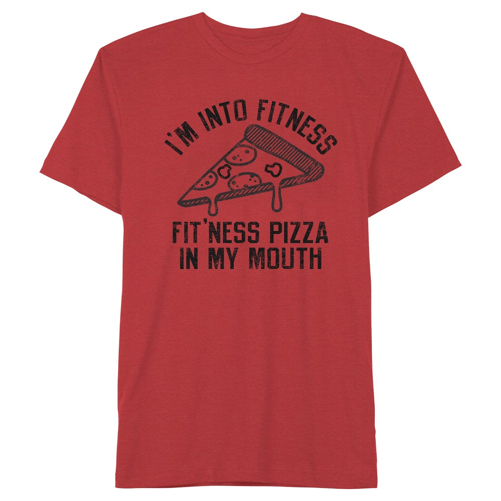 Men's Into Fitness Pizza T-Shirt Red Heather S