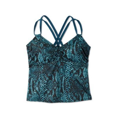 Women's Plus Size Double Strap Cinch Front Tankini Top - All in Motion™ Teal Snake Print