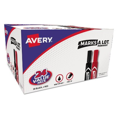 Avery 24pk Marks-A-Lot Permanent Chisel Tip Markers - Black/Red
