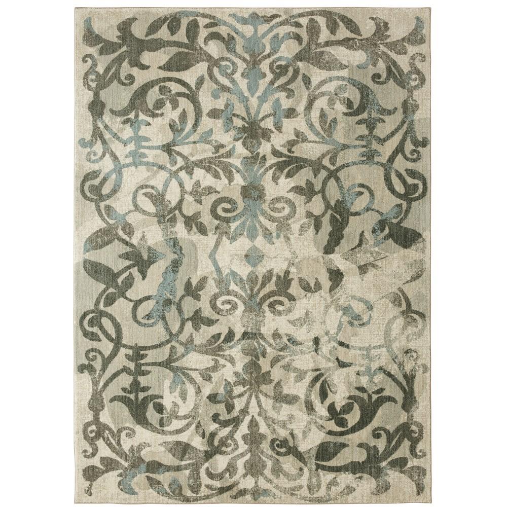 8'x10' Floral Woven Area Rug Gray - Karastan