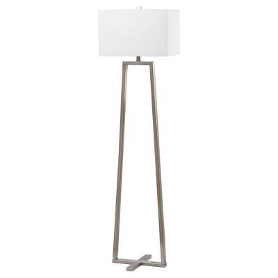 "60"" Lyell Floor Lamp Nickel (Includes CFL Light Bulb) - Safavieh"