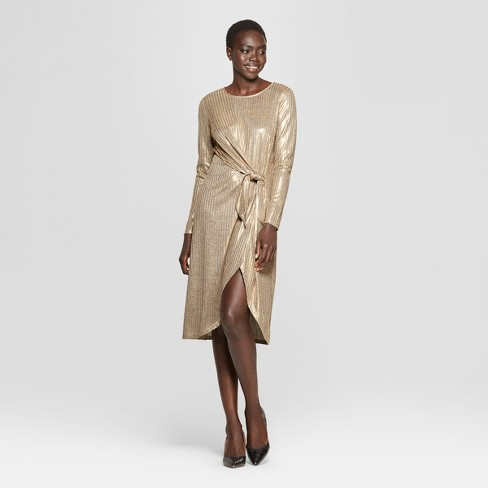 Women's Long Sleeve Wrap Tie Knit Dress - Who What Wear™ - image 1 of 3
