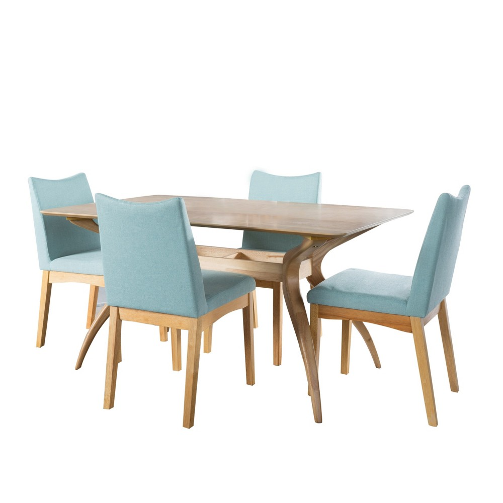 Dimitri 5pc 59 Curved Leg Dining Set Oak Brown/Mint (Green) - Christopher Knight Home