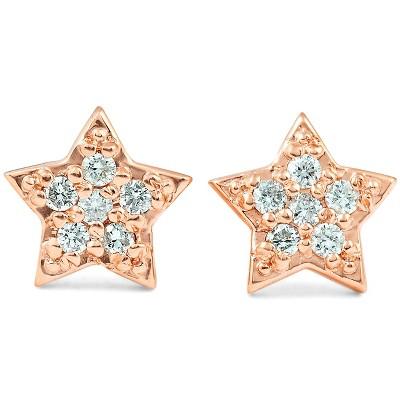 Pompeii3 14K Rose Gold Diamond Pave Petite Star Studs Dainty High Polished 6.5MM
