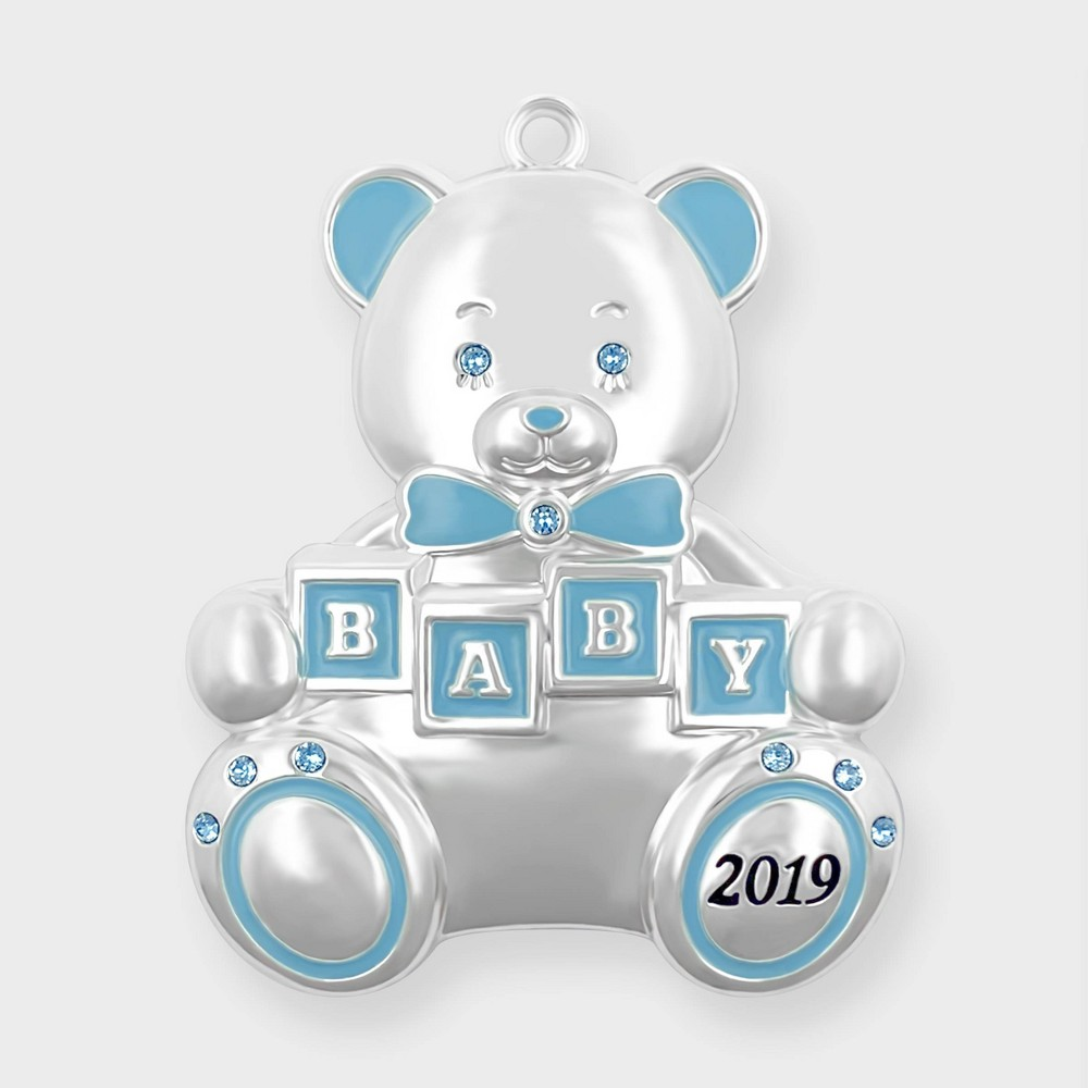 Image of Crystals from Swarovski - Harvey Lewis - Baby's First Christmas 2019 Ornament Blue, Blue Silver