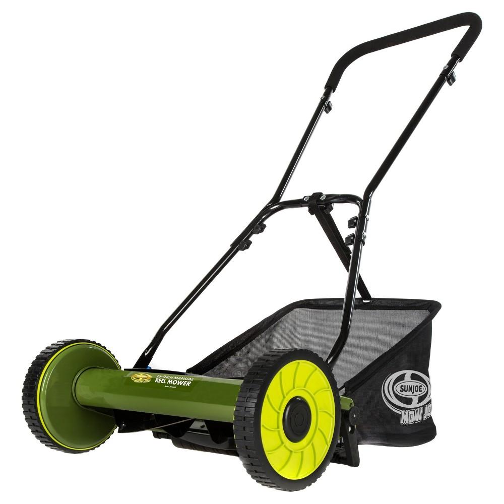 Sun Joe 16 Inch Manual Reel Mower with Grass Catcher, Black
