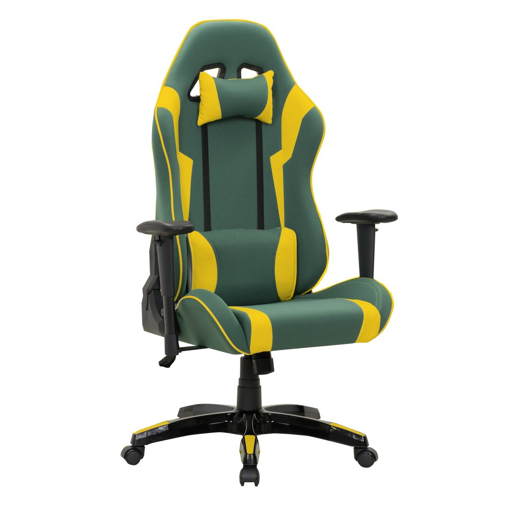 Adjustable High Back Ergonomic Gaming Chair Green/Yellow - CorLiving
