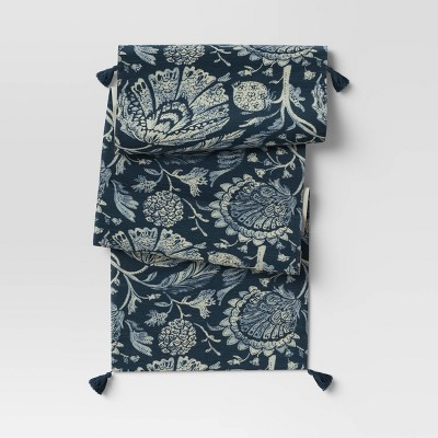Cotton Jacobean Table Runner Blue - Threshold™