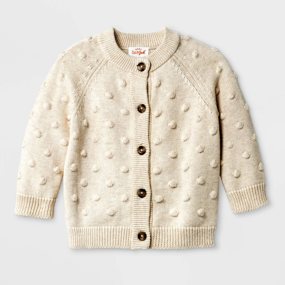 Image of Baby Bobble Sweater Cardigan - Cat & Jack Beige 12M, Kids Unisex, Brown