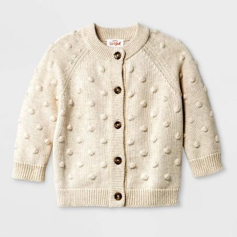 Baby Girls' Bobble Sweater Cardigan - Cat & Jack™ Beige - image 1 of 1