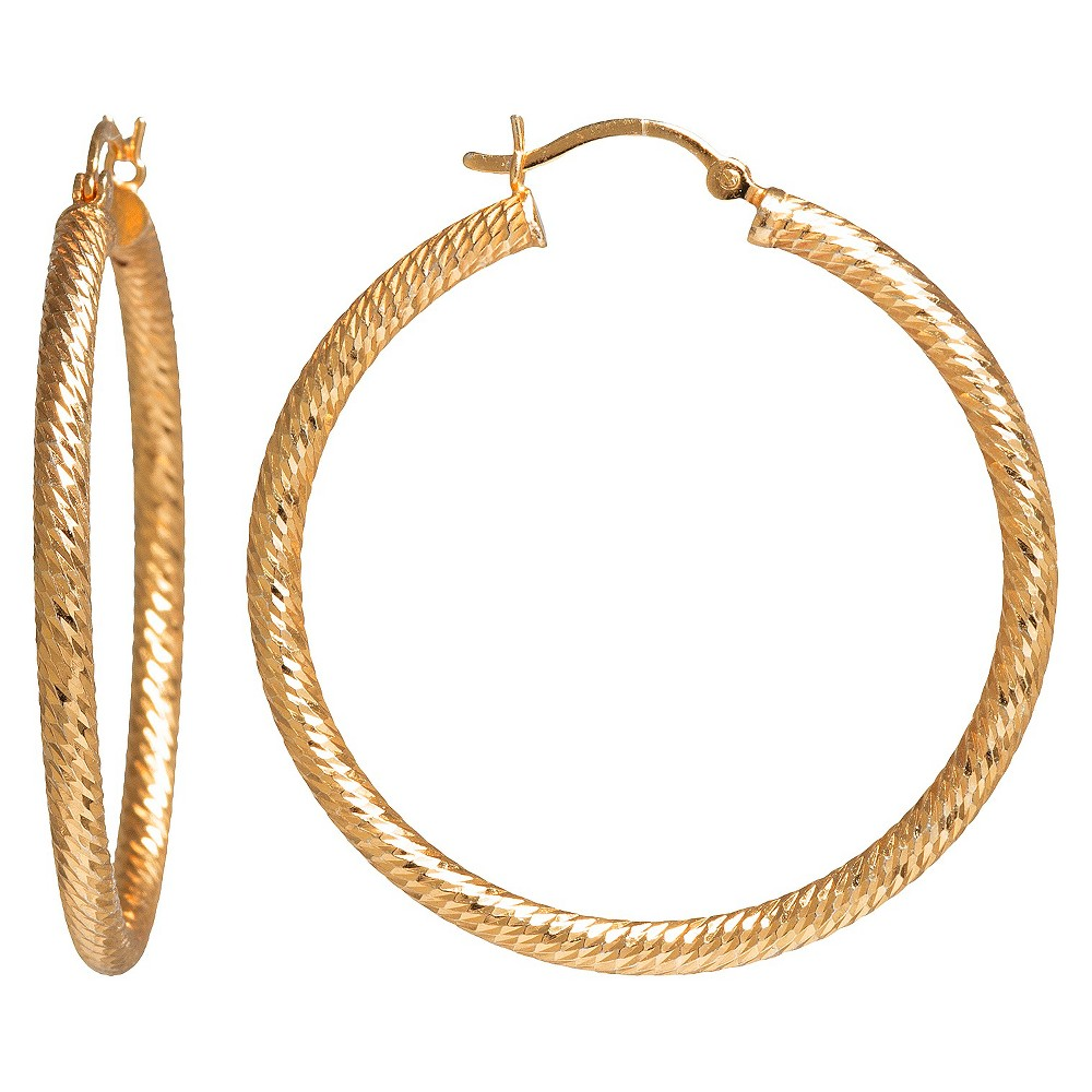 Women's Gold Plated Textured Hoop Earrings - Gold (40mm)
