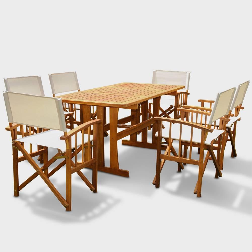 Messina 7pc Acacia Wood Patio Dining Set - Brown - International Caravan