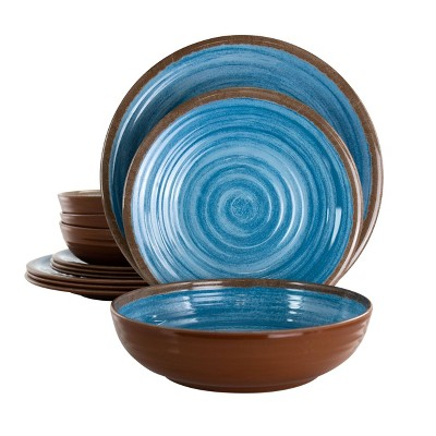 12pc Melamine Rippled Tides Dinnerware Set Blue - Elama