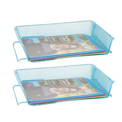 2pc Stackable Letter Tray Mesh Turquoise - Mind Reader