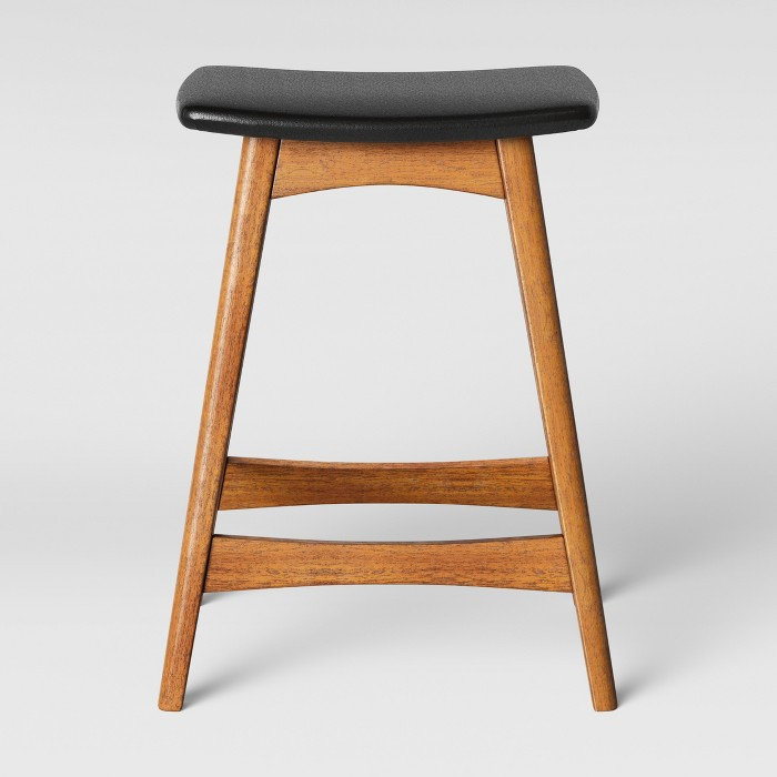 Domela Modern Saddle Barstool Faux Leather Brown - Project 62™ - image 1 of 3