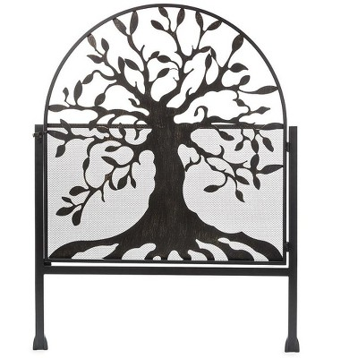 Plow & Hearth - Arched Metal Weather-Resistant Garden Gate with Symbolic Tree of Life Design