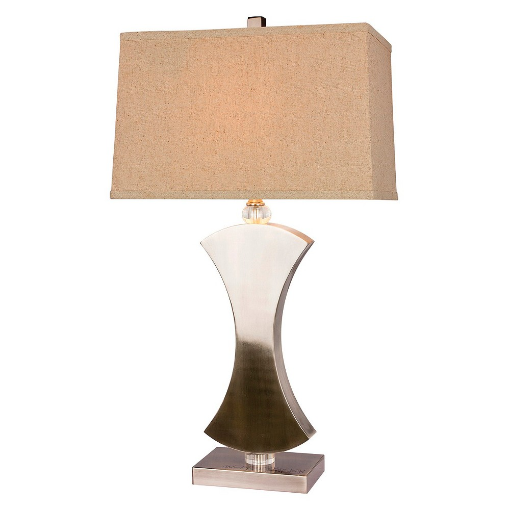 Metal and Crystal Table Lamp - Brushed Steel (Silver) (31)