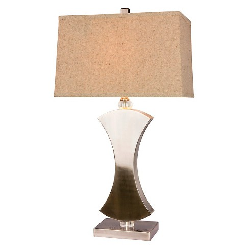 "Metal and Crystal Table Lamp - Brushed Steel (31"") - image 1 of 2"