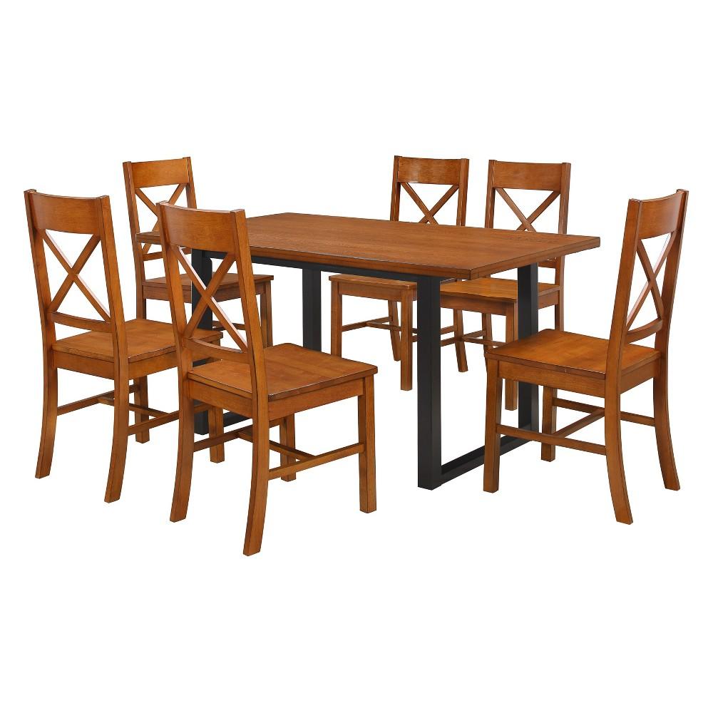 7pc Wood Dining Set Antique Brown - Saracina Home