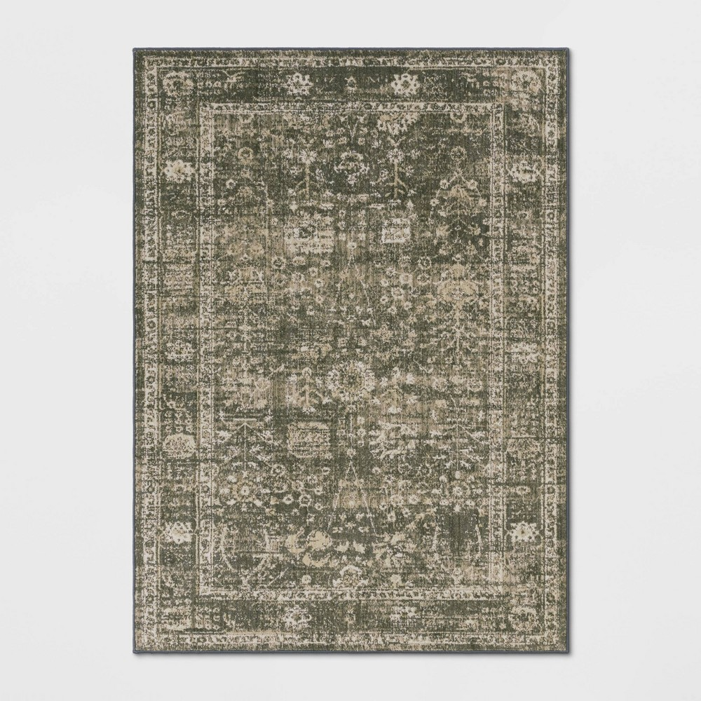 Floral Woven Area Rug Gray
