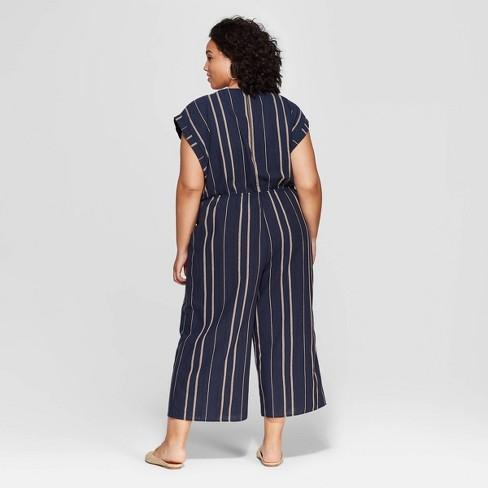 c21e3cbce48c Women s Plus Size Striped Sleeveless Scoop Neck Jumpsuit - Universal Thread™  Navy