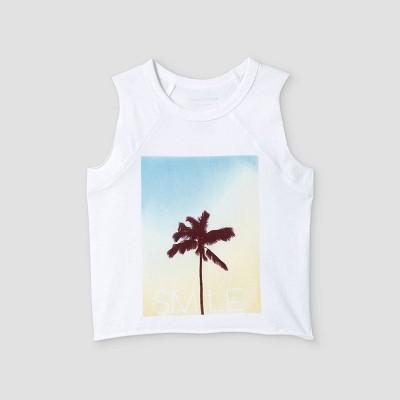 Grayson Mini Toddler Girls' Palm Tree Smile Tank Top - White