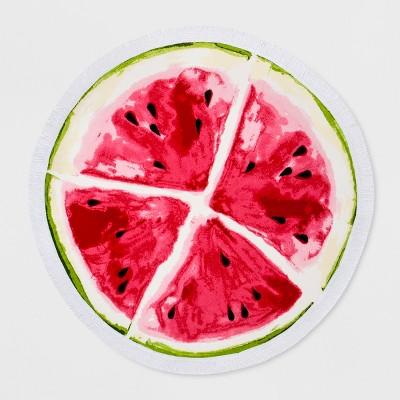 60  Round Watermelon Beach Towel Red/Green - Sun Squad™