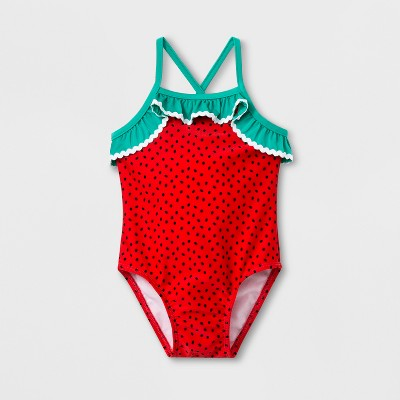 Baby Girls' Strawberry One Piece Swimsuit - Cat & Jack™ Red 12M
