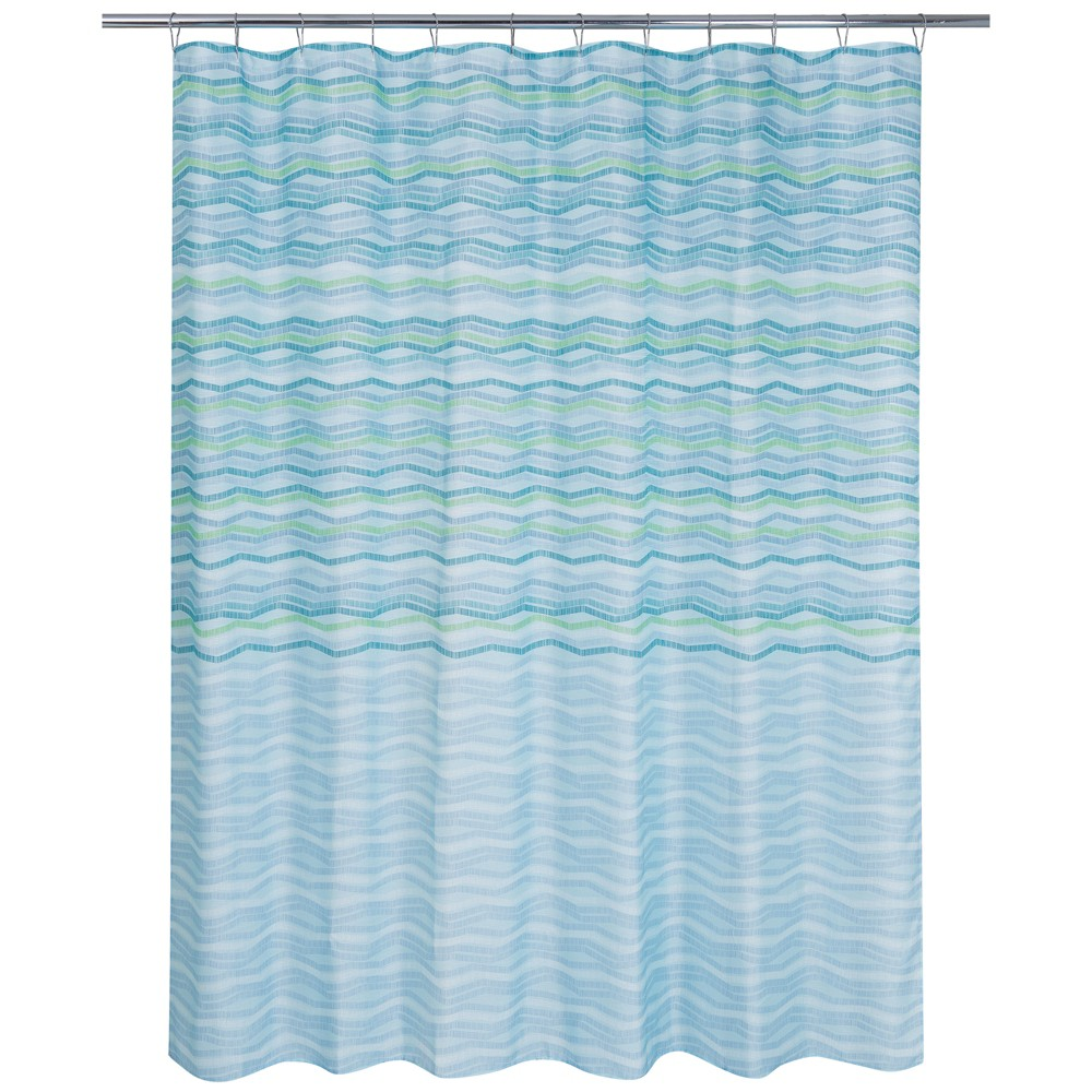 Image of Zig Zag Dots Shower Curtain Blue - Allure Home Creation