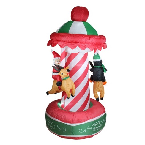 Northlight 6.5' Inflatable Animated Christmas Carousel Lighted Yard Art Decoration