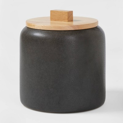 89oz Stoneware Tilley Food Storage Canister with Wood Lid Black - Project 62™