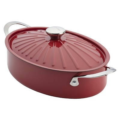 Rachael Ray Cucina Oven-To-Table Hard Enamel Nonstick 5-Quart Covered Oval Sauteuse, Cranberry Red
